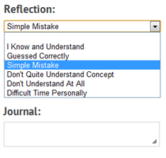 student reflection options