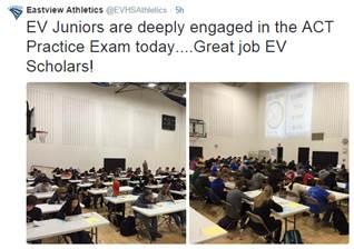 Eastview Juniors take ACT Practice Exam using Naiku