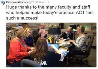 Eastview staff use Naiku to administer ACT Practice Exam